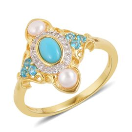 Designer Inspired - Arizona Sleeping Beauty Turquoise (Ovl), Fresh Water Pearl, Malgache Neon Apatite and Natural White Cambodian Zircon Ring in Yellow Gold Overlay Sterling Silver 1.050 Ct.