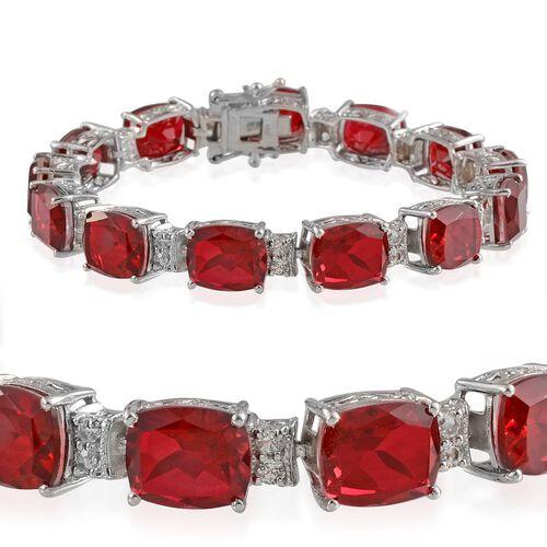 Ruby Quartz (Cush), White Topaz Bracelet in Platinum Overlay Sterling Silver (Size 7.5) 52.000 Ct.