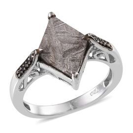 Meteorite and Boi Ploi Black Spinel Ring in Platinum Overlay Sterling Silver 6.400 Ct.