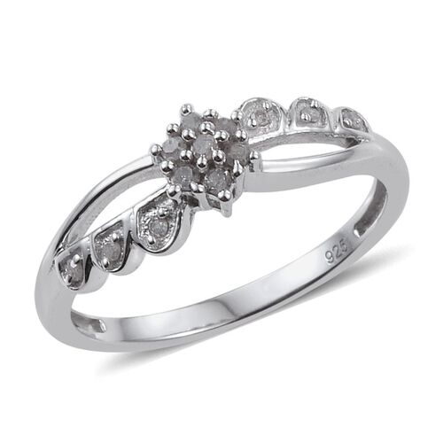 Diamond Flower Promise Silver Ring in Platinum Overlay 0.150 Ct.