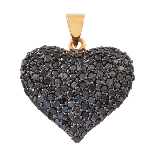 Boi Ploi Black Spinel (Rnd) Heart Pendant in 14K Gold Overlay Sterling Silver 2.250 Ct.