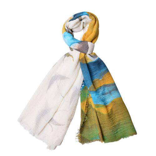 Sea Meaw Flying Over the Sea Pattern Blue, Dark Yellow, White and Multi Colour Scarf (Size 180x90 Cm)