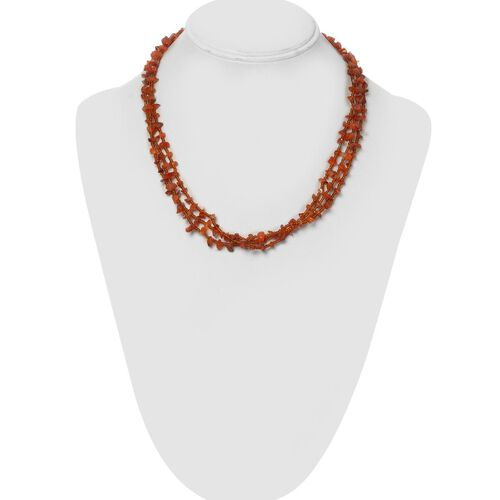 Carnelian and Orange Glass Beads Necklace (Size 20) in Silver Tone 121.280 Ct.