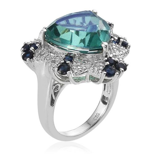 Peacock Quartz (Trl 8.75 Ct), Kanchanaburi Blue Sapphire and Diamond Ring in Platinum Overlay Sterling Silver 10.000 Ct.