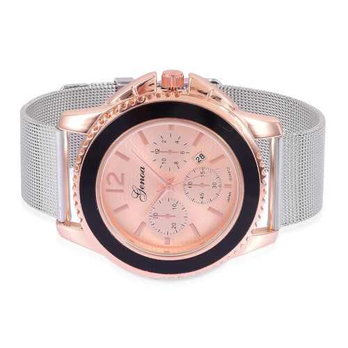 GENOA Japanese Movement Rose Gold Colour Dial Water Resistant Watch in Rose Gold Tone with Stainless Steel Back and Chain Strap
