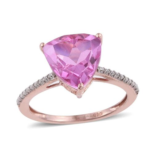 Kunzite Colour Quartz (Trl) Solitaire Ring in Rose Gold Overlay Sterling Silver 3.000 Ct.