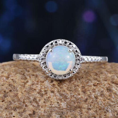 Ethiopian Opal (Rnd) Solitaire Ring in Platinum Overlay Sterling Silver 1.000 Ct.