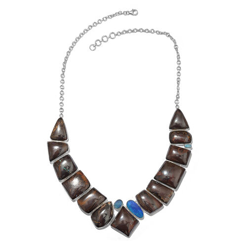 One Off A Kind- Boulder Opal Rock and Opal Double Necklace (Size 18 with 1 inch Extender) in Sterling Silver 416.250 Ct. Silver wt. 44.25 Gms.