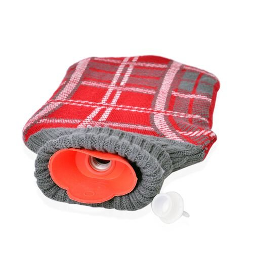 Set of 2 - Hotwater Grey and Red Colour Checks Pattern Knitted Bottle Cover (Size 32X18 Cm)