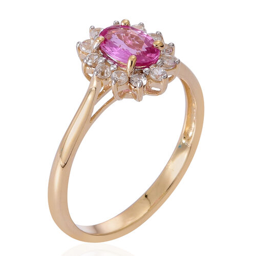 9K Yellow Gold 1.25 Carat Pink Sapphire Oval, Natural Cambodian White Zircon Ring.