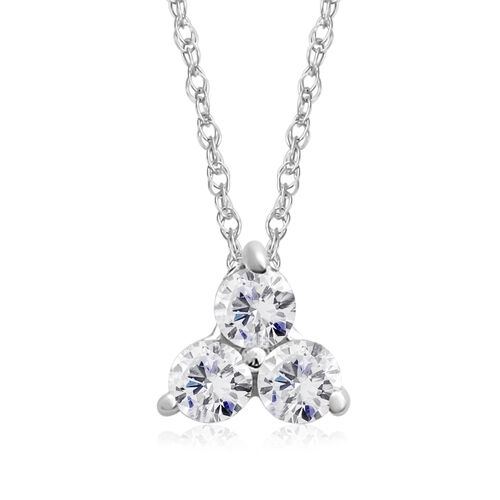 9K White Gold 0.25 Carat AA Diamond Trilogy Pendant with Chain SGL Certified I3 G-H