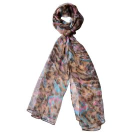 End Of Season Deal-100% Mulberry Silk Chocolate, Blue and Multi Colour Printed Scarf (Size 180X50 Cm)