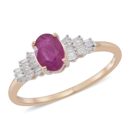 9K Y Gold AAA Burmese Ruby (Ovl 1.00 Ct), Diamond (I3/G-H) Ring 1.250 Ct.
