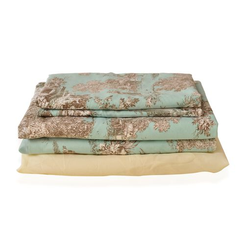 Set of 4 - Toile de Jouy Village Life Print Double Size Duvet Cover with Fitted Sheet and 2 Pilow Shams in Turquoise and Beige Tones