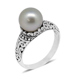 Royal Bali Collection South Sea White Pearl (Rnd) Ring in Sterling Silver.