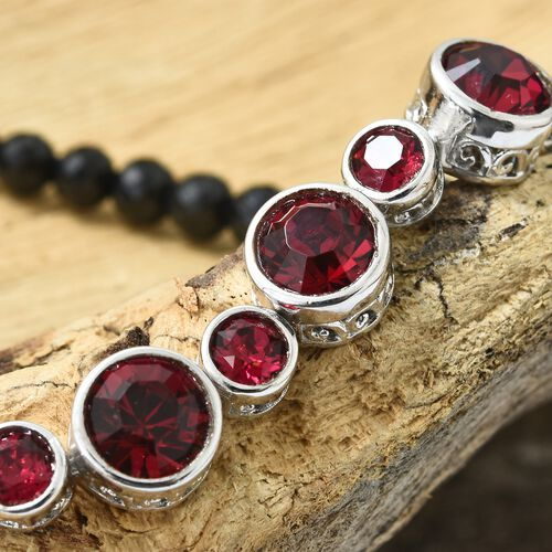 J Francis Crystal from Swarovski - Ruby Colour Crystal (Rnd) Bracelet (Size 7.5) in ION Plated Platinum Bond