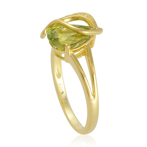 Hebei Peridot (Pear 1.75 Ct), White Topaz Ring in Yellow Gold Overlay Sterling Silver 1.800 Ct.