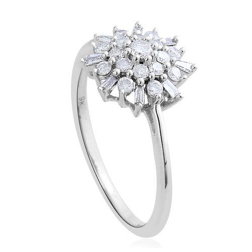 9K White Gold 0.50 Carat Diamond Snowflake Ring SGL Certified I3 G-H.