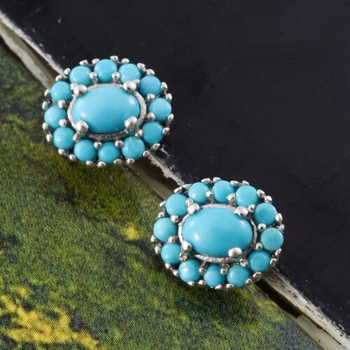 Arizona Sleeping Beauty Turquoise (Ovl) Stud Earrings (with Push Back) in Platinum Overlay Sterling Silver 1.750 Ct.