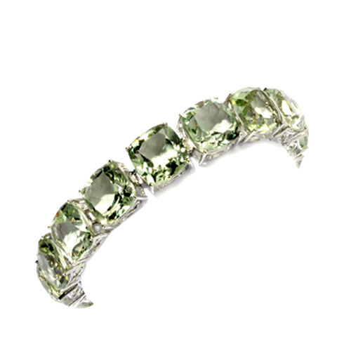 Green Amethyst (Cush) Bracelet (Size 8) in Rhodium Plated Sterling Silver 100.000 Ct.