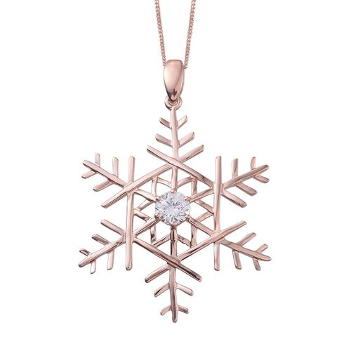 J Francis - Rose Gold Overlay Sterling Silver (Rnd) Snowflake Pendant With Chain Made with SWAROVSKI ZIRCONIA