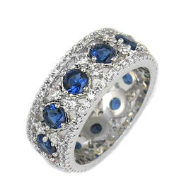 AAA Simulated Blue Sapphire (Rnd), Simulated Diamond Ring in Silver Bond, Number of Simulated Diamonds 130