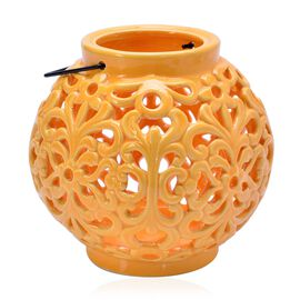 Hand Made Flower Pattern Orange Colour Ceramic Outdoor Candle Holder-Lantern