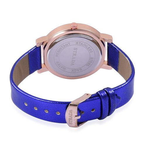 STRADA Japanese Movement Sunshine Dial with Blue Austrian Crystal Watch in Rose Gold Tone with Blue Colour Strap