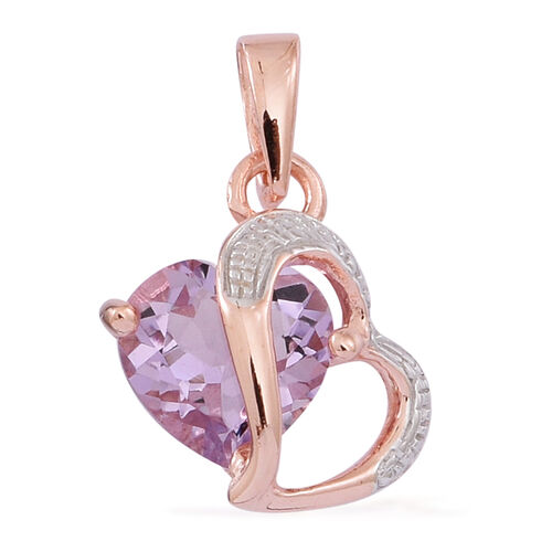Rose De France Amethyst (Hrt) Pendant in 14K Rose Gold Overlay Sterling Silver 1.750 Ct.