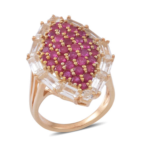 Burmese Ruby (Rnd), White Topaz Ring in 14K Gold Overlay Sterling Silver 5.000 Ct.