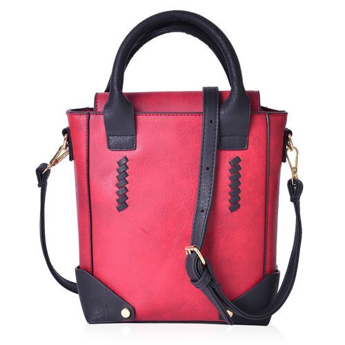Designer Inspired - Red and Black Colour Tote Bag with Adjustable and Removable Shoulder Strap (Size 25X20X8 Cm)