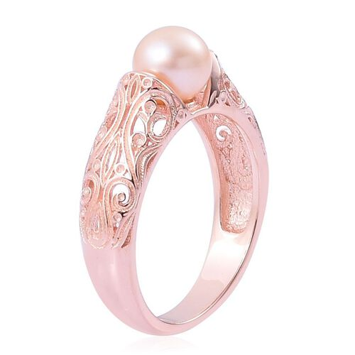 PEARL EXPRESSIONS Fresh Water Peach Pearl (Rnd 6-6.5mm) Ring in Rose Gold Overlay Sterling Silver