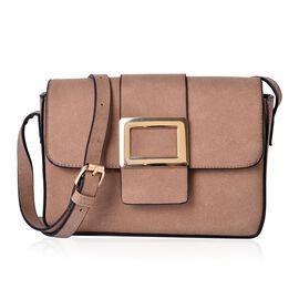 Italian Tan Crossbody Bag with Adjustable Shoulder Strap (Size 24x17.5x7 Cm)