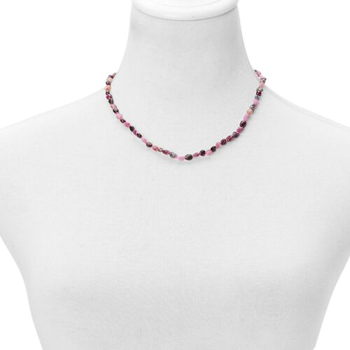 Hand Knotted Multi Tourmaline Necklace (Size 18 with 2 inch Extender) in Rhodium Plated Sterling Silver 55.000 Ct.
