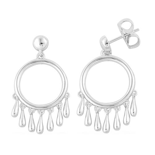 LucyQ Multi Drip Earrings (with Push Back) in Rhodium Plated Sterling Silver 6.78 Gms.