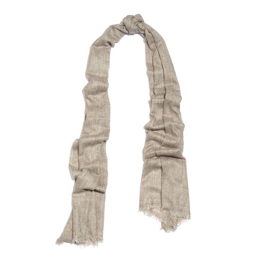 Cashmere & Merino Wool Blend Beige Colour Scarf with Fringes (Size 200X65 Cm) Weight 110 Gms