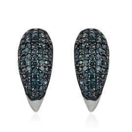 Blue Diamond (Rnd) Earrings (with Push Back) in Platinum Overlay Sterling Silver 0.500 Ct. Number of Diamonds 130