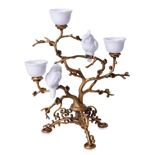 Hand Made Museum Collection - Bronze Tree Candelabrum with Handmade White Parrots (Size 25x17 Cm)