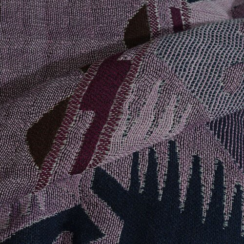 Pink, Grey and Multi Colour Ikkat Pattern Scarf with Fringes (Size 190X70 Cm)