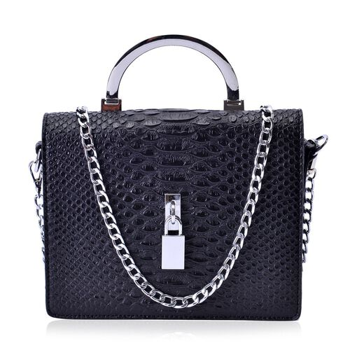 Snake Embossed Black Colour Crossbody Bag with Removable Chain Strap (Size 21x17x8 Cm)