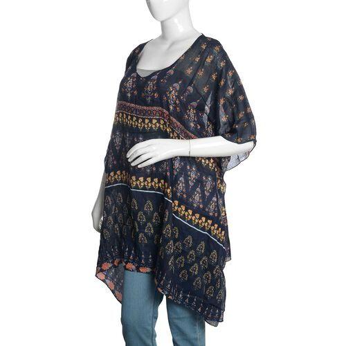 Navy, Yellow and Multi Colour Floral Printed Kaftan (Free Size)