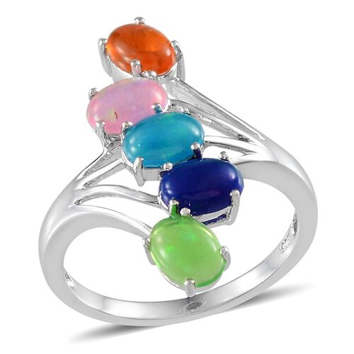 Green Ethiopian Opal (Ovl), Blue Ethiopian Opal, Paraiba Ethiopian Opal, Orange Ethiopian Opal and Pink Ethiopian Opal Crossover Ring in Platinum Overlay Sterling Silver 2.000 Ct.