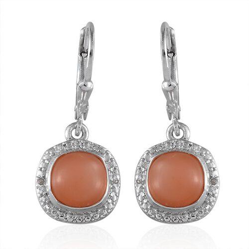 Mitiyagoda Peach Moonstone (Cush), Diamond Earrings in Platinum Overlay Sterling Silver 5.020 Ct.