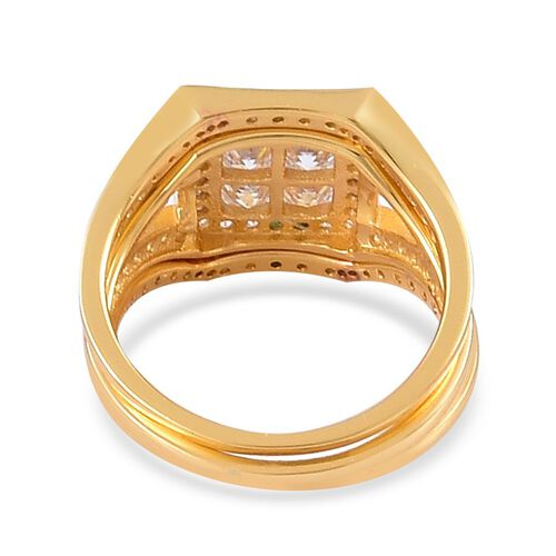 AAA Simulated White Diamond 3 Ring Set in Yellow Gold Overlay Sterling Silver