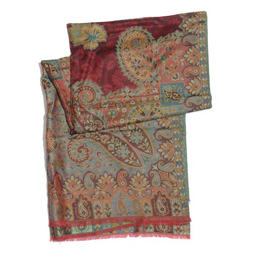 100% Superfine Modal Red and Multi Colour Floral and Paisley Pattern Jacquard Scarf (Size 190x70 Cm)