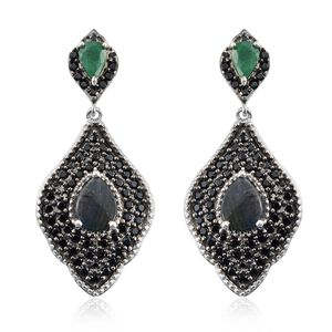 Spectrolite (Pear),Boi Ploi Black Spinel and Kagem Zambian Emerald Earrings (with Push Back) in Platinum and Black Rhodium Overlay Sterling Silver 4.750 Ct. Silver wt. 8.21 Gms. Number of Gemstones 124