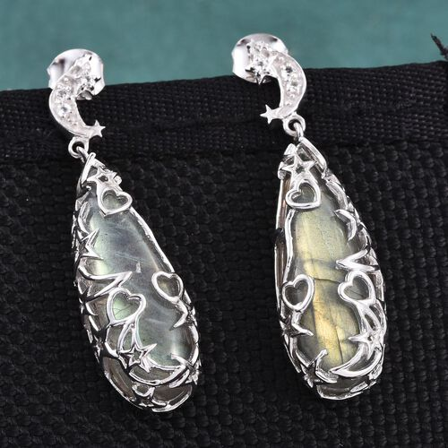 GP Labradorite (Pear), Kanchanaburi Blue Sapphire and White Topaz Earrings in Platinum Overlay Sterling Silver 25.000 Ct.