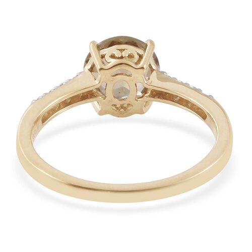ILIANA 18K Yellow Gold 1.90 Carat AAA Turkizite Ring With Diamond SI G-H