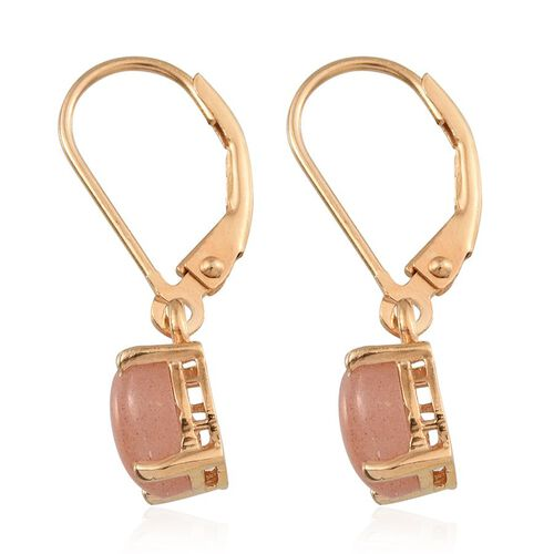 Morogoro Peach Sunstone (Ovl) Lever Back Earrings in 14K Gold Overlay Sterling Silver 2.250 Ct.