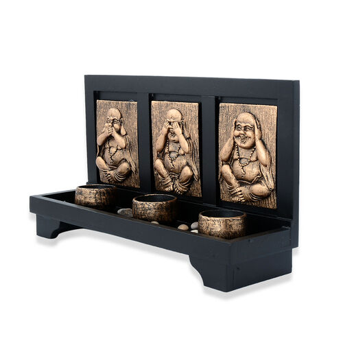 Home Decor -  Golden Colour Three Laughing Buddha with Cups